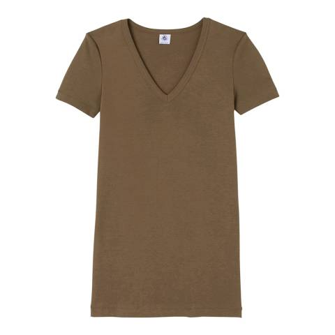 Petit Bateau Brown Original Rib V-Neck Cotton T-Shirt