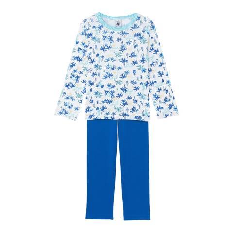 Petit Bateau Boy's White/Blue Print Pyjamas