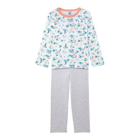 Petit Bateau Boy's White Print Pyjamas