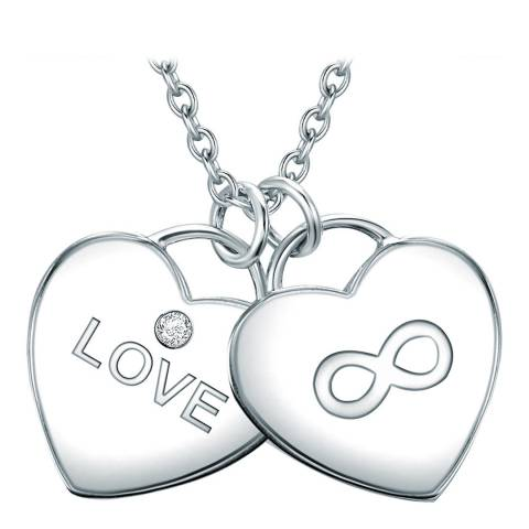 Tess Diamonds Silver Heart Love/Infinity Necklace