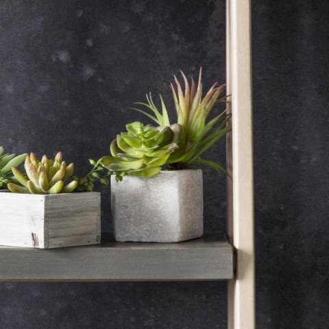 Gallery Green/Multi Faux Succulents In Square Stone Planter
