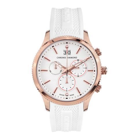 Chrono Diamond Men's Rose Gold/White Okeanos Watch