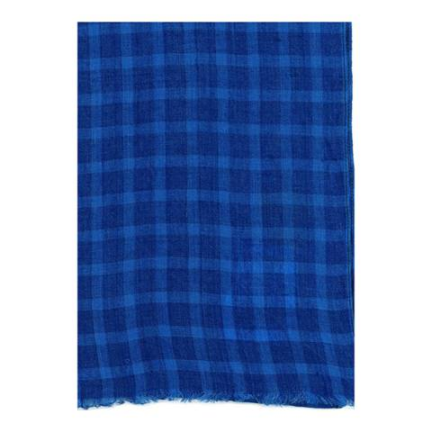 Hackett London Cobalt Blue Check Big Scarf