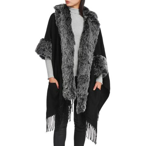 JayLey Collection Black / Grey Cashmere Faux Fur Cape Coat