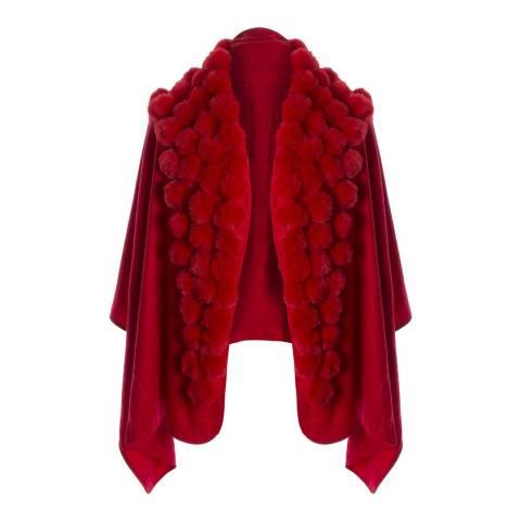 JayLey Collection Red Cashmere Blend Faux Fur Pom Pom Wrap