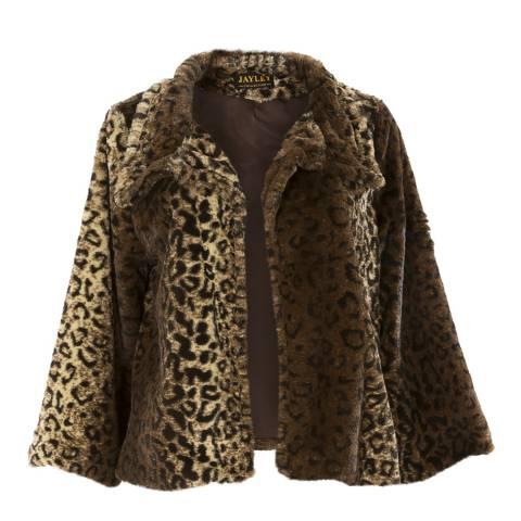 JayLey Collection Leopard Faux Fur Jacket