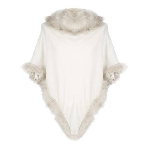 JayLey Collection Poncho with Faux Fur Trim