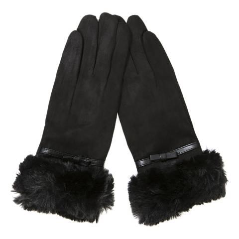 JayLey Collection Black Faux Fur Faux Suede Gloves