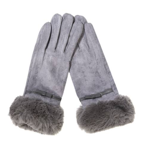 JayLey Collection Grey Faux Fur Faux Gloves