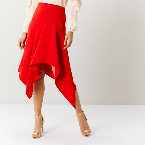 Coast Red Saira Asymmetric Skirt