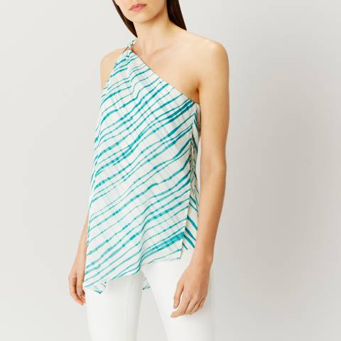 Coast Blue/White Montego One Shoulder Print Top