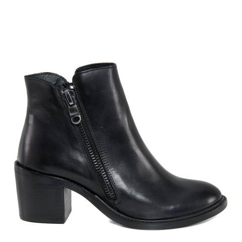 Gusto Black Leather Tantra Ankle Boots