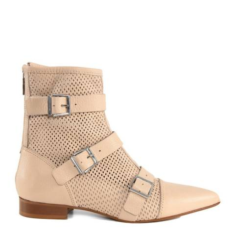 Gusto Nude Perforated Leather Ankle Boots
