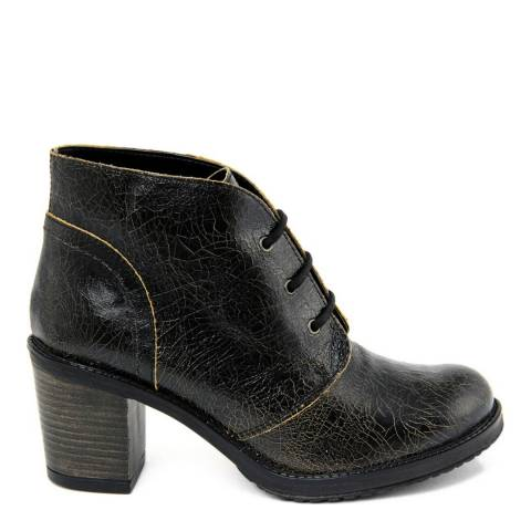 Gusto Black Leather Trinidad Crack Ankle Boots