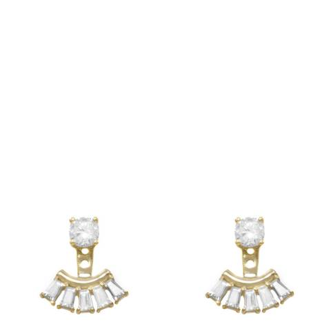 Black Label by Liv Oliver Gold Trapezoid Cubic Zirconia Earrings