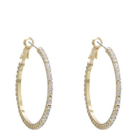 Black Label by Liv Oliver Gold Crystal Hoop Earrings