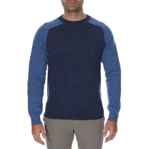 Hackett London Blue Two Tone Long Wool Jumper