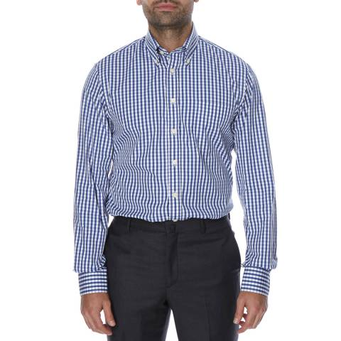 Hackett London Royal Blue Classic Check Cotton Shirt
