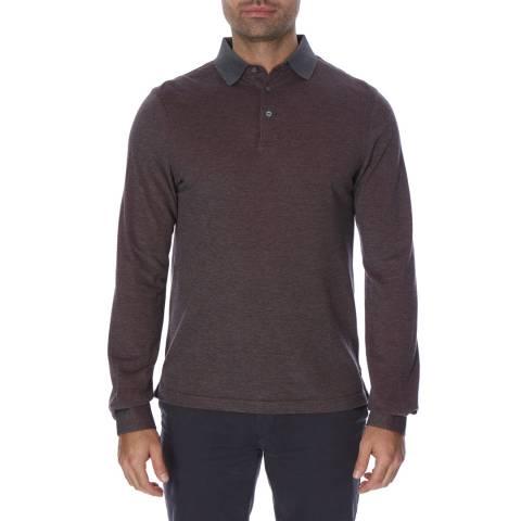 Hackett London Bordeaux Mayfair Cotton Cashmere Blend Long Sleeve Polo Top