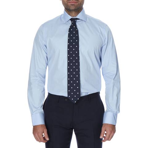 Hackett London Blue Poplin Classic Cotton Shirt
