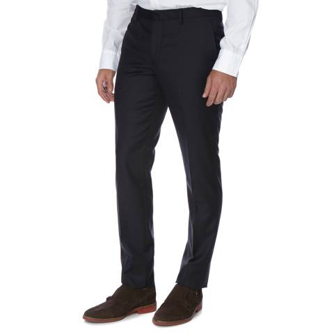 Hackett London Navy Plain Wool Trousers
