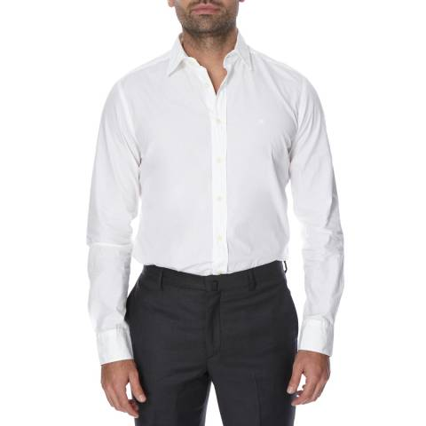 Hackett London Off White Poplin Cotton Shirt