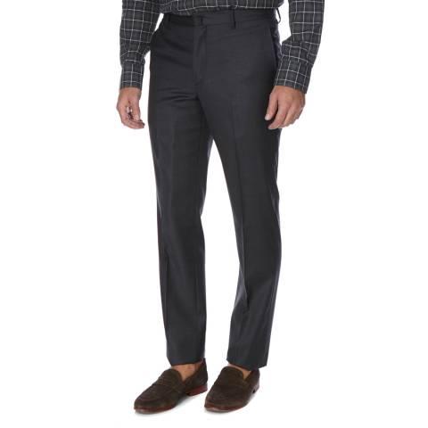 Hackett London Charcoal Plain Wool Trousers
