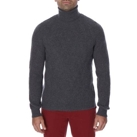 Hackett London Dark Grey Lattice Wool Blend Roll Neck Jumper