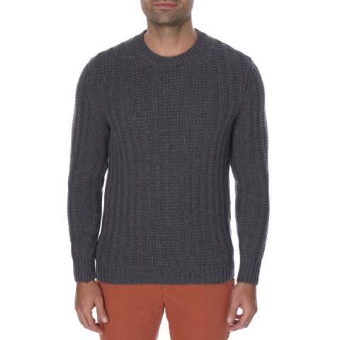 Hackett London Grey Mayfair Rib Stitch Wool Blend Jumper