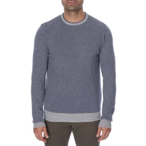 Hackett London Blue Microjacquard  Slim Fit Cotton Cashmere Blend Jumper