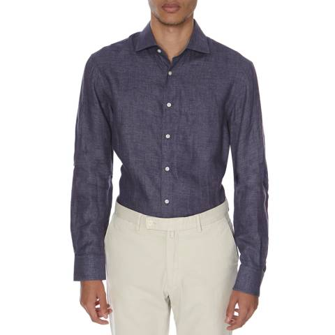 Hackett London Indigo Brushed Linen Shirt