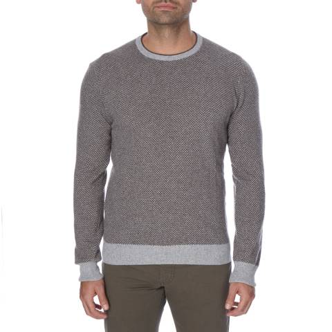Hackett London Grey Microjacquard Slim Fit  Cotton Cashmere Blend Jumper