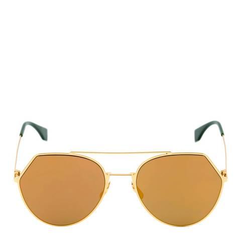 Fendi Women's Yellow Gold / Gold Mirror Sunglasses 55mm