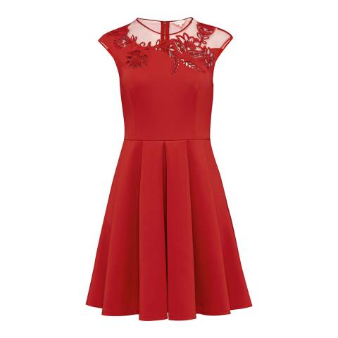 Ted Baker Bright Red Dollii Embroidered Cut Out Dress