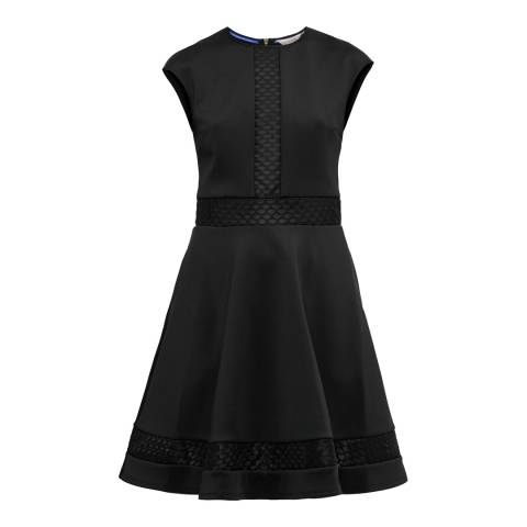 Ted Baker Black Glorry Mesh Detail Full Skirt Dress