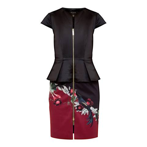 Ted Baker Black Jaunel Bejewelled Shadows Zip Dress