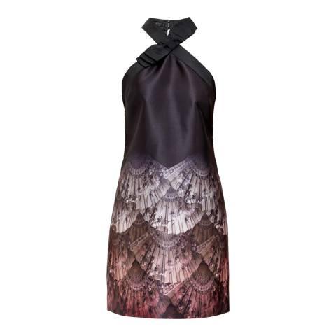 Ted Baker Black Rayven Fan Ombre Print Bow Dress