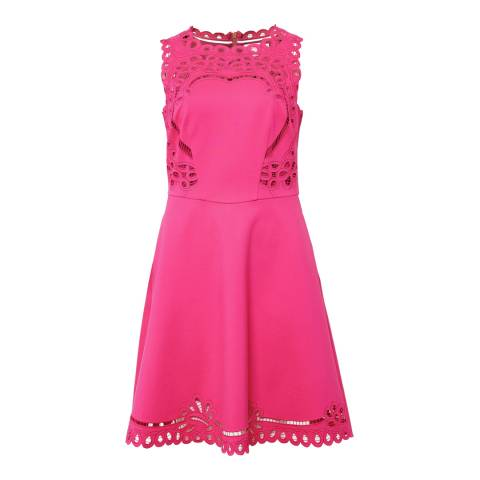 Ted Baker Bright Pink Verony Embroidered Skater Dress