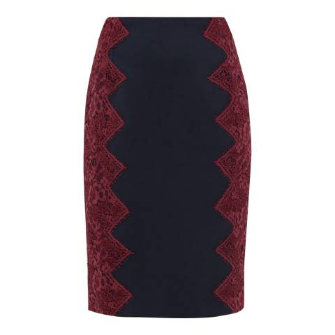 Ted Baker Navy Queeny Scallop Lace Edge Pencil Skirt