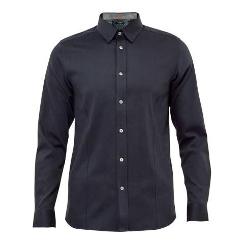 Ted Baker Navy Wiplash Textured Stretch Cotton Blend Shirt