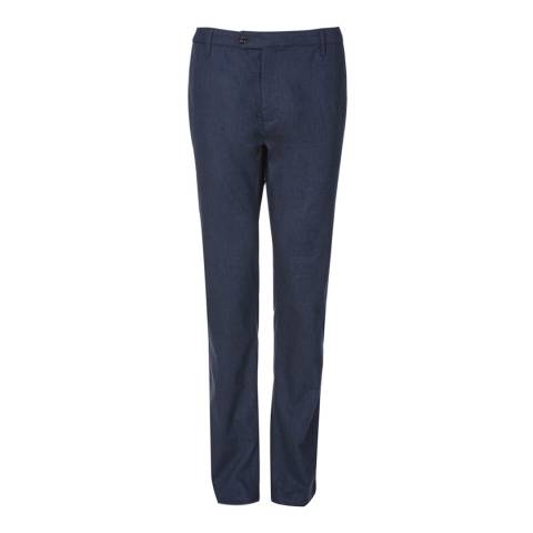 Ted Baker Dark Blue Tommie Mini Design Cotton Blend Trousers