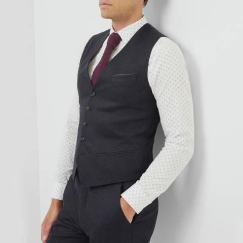 Ted Baker Navy Cloowai Diamond Design Waistcoat