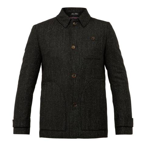 Ted Baker Charcoal Robson Wool Blend Collared Overcoat