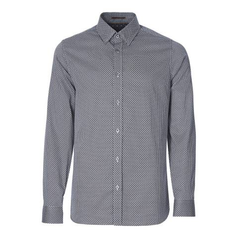 Ted Baker Navy Tentens Geo Print Cotton Shirt