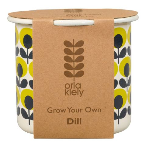 Orla Kiely Yellow GYO Dill Flower Oval Print Pot