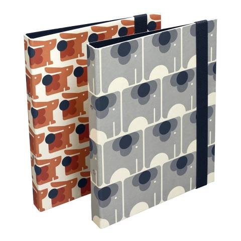 Orla Kiely Orange/Grey 2x Ela Elephant and Poppy Cat Slim Ring Binders