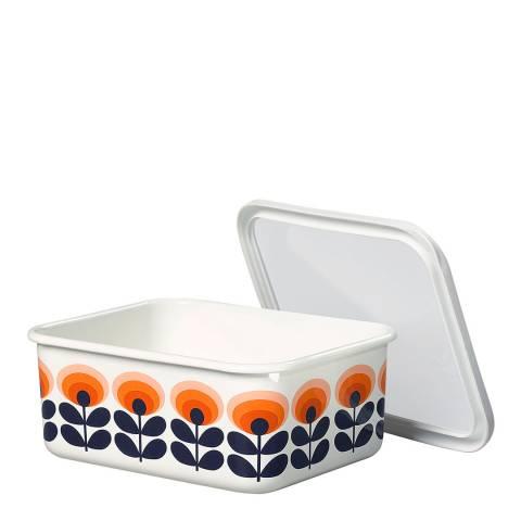 Orla Kiely Blue/Orange Large Enamel Storage Container