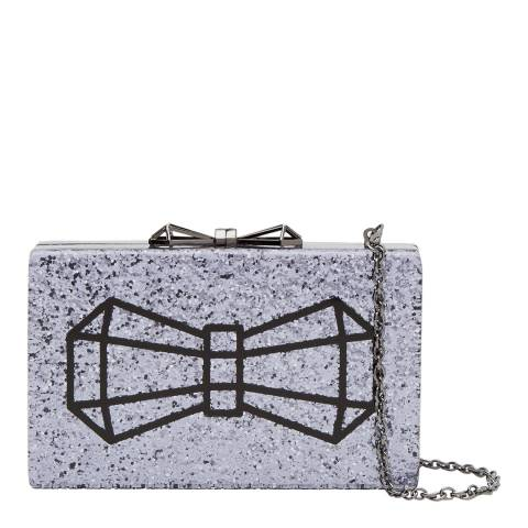 Ted Baker Gunmetal Bow Glitter Resin Clutch Bag