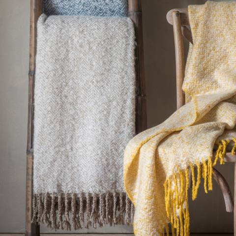 Kilburn & Scott Taupe Herringbone Mohair Throw 130x180cm
