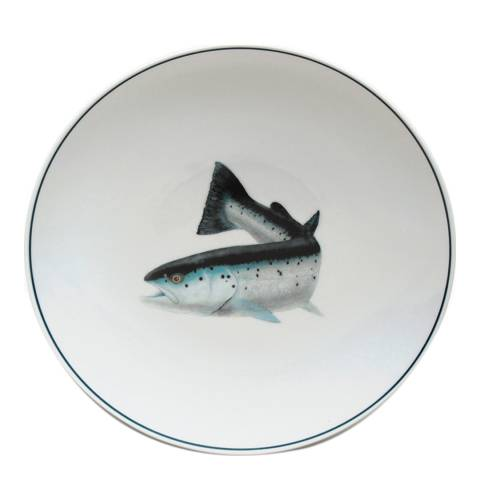Jersey Pottery Seaflower Set of 4 Dinner Plates, Atlantic Salmon